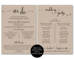 Wedding Program Template, Wedding Program Printable, We Do, Ceremony Printable Template - PDF Instant Download, DIY, WBWD4 by AModernSoiree on Etsy https://www.etsy.com/listing/277026924/wedding-program-template-wedding-program