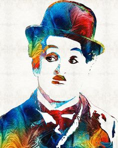 """Oh Charlie"" Charlie Chaplin Tribute Mixed Media Painting/Collage Sharon Cummings 2014 . Paintings For Sale, Illustration, Drawings, Painting, Art, Art Pictures, Painting Collage, Pop Art, Charlie Chaplin"