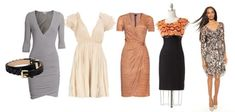 """PEAR SHAPED WOMEN: party dresses.   1) Empire Waist will emphasize your waist and """"slim"""" down your hips; are best worn right above the knee. 2) A-line; looks like it's flaring out like an A. 3) Wrapped dressest: creates a ruching to the side of the dress that effectively hides and flatters your hip and tummy area. 4) Shoes; nude color shoes help elongate your legs and adds more height"""