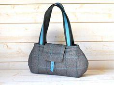 LA BOHEME Gray Purse Herringbone Wool  / Chic French