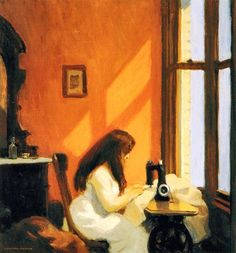 E. Hopper.....Me, in my element...stitching by the sunny window, yards of fabric falling round me...like auburn tresses