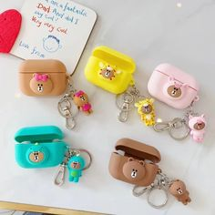 For Apple Airpods Pro Case Cute Cartoon Silicone Earphone Case for Airpod 3 Cover for Air Pods Pro Portable Keychain Coque Airpod Pro, Airpod Case, Pink Pendants, Earphone Case, Bear Design, Air Pods, Line Friends, Cute Bears, Protective Cases
