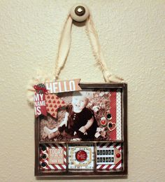 """A darling twist from using a basic picture frame for a newborn, birthday or special person photo focus. This DIY Kit uses a 7 Gypsie Solo Shadowbox Tray and is altered using the newly released """"Hello"""