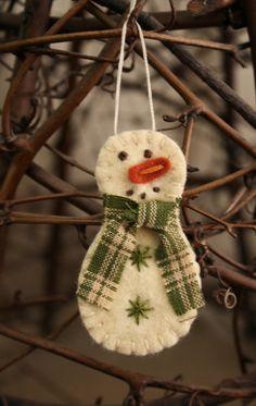 tiny snowman felt brooch or ornament handmade holiday decoration. $10.00, via Etsy.