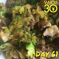 Spaghetti squash, Brussels sprouts, and balsamic chicken with garlic and a squeeze of fresh lemon. So good! Happy Friday!  #whole30 #whole100 #CTLTwhole100 #whole30homies #2015IGwhole30 #eatrealfood #cleaneating #jerf #healthy #mealideas #paleo #recipe #blog #considertheleafTURNED #day61
