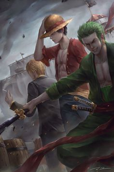 One Piece Luffy,Sanji,Zoro Source by konstantin_brett sanji Anime One Piece, Zoro One Piece, One Piece Ace, One Piece Fanart, Roronoa Zoro, Fanarts Anime, Anime Characters, Doflamingo Wallpaper, One Piece Tattoos