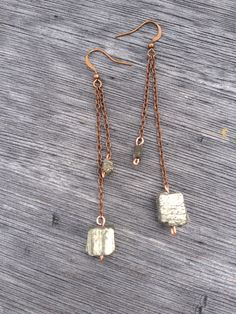 Pyrite Cube Dangle Earrings // stitchprism