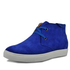Blue casual shoes that give you height 6cm / 2.36inches suede leather elevator shoe