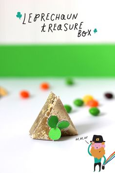 Printable template for DIY leprechaun treasure box craft