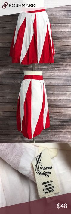 Anthropologie Floreat Pulsations Skirt 4 Red White Measurements: (in inches) - Waist: 28 - Length: 20.5  Good, gently used condition Anthropologie Skirts A-Line or Full