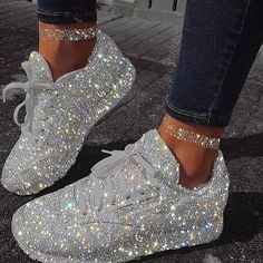 Glitter grey shoes amazing is part of Diamond shoes - Hype Shoes, Women's Shoes, Shoe Boots, Shoes Sneakers, White Sneakers, Jordan Shoes Girls, Girls Shoes, Shoes Women, Sneakers Fashion