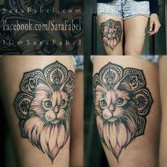 Sara Fable kitty cat tattoo