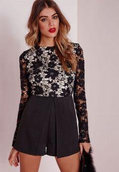 Lace Top Long Sleeve Skort Playsuit Black