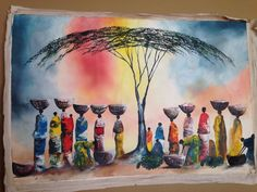 This amazing original acrylic painting is by Ugandan artist, Davis Muwumba. This beautiful piece captivates you with the details of the