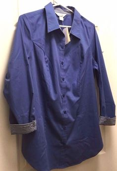 Tunic Length Blouse Long Sleeve Blue Collared Button from CJ Banks Plus X 14W #CJBanks #ButtonDownShirt #Careercasualclub