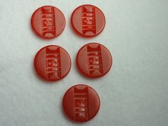 Vintage Red Bakelite buttons set of 5  7/8 by Threadbender64,