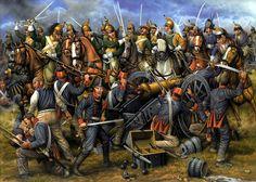 21 de Julio de 1812, primera batalla de Castalla, los dragones de Suchet desbaratan la artillería española del Ejército bajo el General O'Donnell, perdiéndose 800 hombres entre muertos y heridos, más 2.800 prisioneros. Cortesía de Ángel García Pinto.  Más en http://www.elgrancapitan.org/foro/viewtopic.php?f=21&t=11680&p=872786#p872786