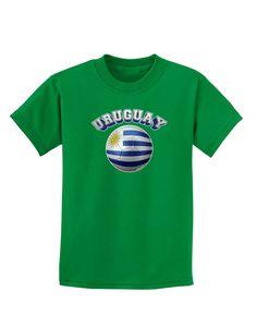 Soccer Ball Flag - Uruguay Childrens Dark T-Shirt