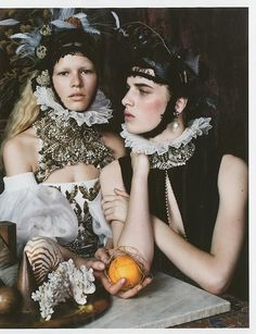 Anna Ewers and Ashleigh Good for British Vogue (december 2013) in 'Still life'. By Josh Olins.