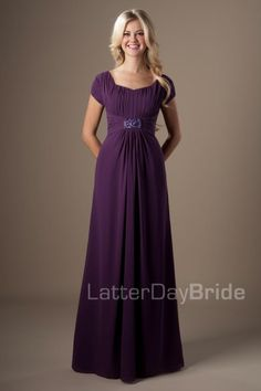 modest bridesmaid dresses with chiffon and beading, the Holmes in eggplant at LatterDayBride