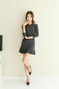 Cut Shoulder Flare Dress
