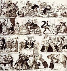 The Crinoline or Hoop Skirt – Mortal Journey 1800s Fashion, 18th Century Fashion, Victorian Fashion, 19th Century, Vintage Fashion, Retro Fashion, Caricatures, Crinoline Dress, Fashion Bubbles