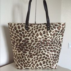 Animal print tote Brown and beige tote bag Bags Totes