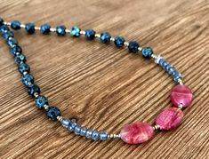 Gemstone Beaded Necklace, Gemstone Necklace, Beaded Choker Necklace, Necklaces for Women, Bohemian Jewelry, Beaded Boho Necklace, For Her  This necklace is made of fire polished Czech glass beads and iolite faceted rondelles surrounding three oval rhodonite beads. We will finish this