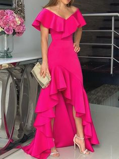 Short Sleeve Off Shoulder Asymmetric Women's Maxi Dress Hot Pink Fashion, Look Fashion, Womens Fashion, Pretty Dresses, Beautiful Dresses, Mode Chic, Looks Chic, Asymmetrical Dress, Dream Dress