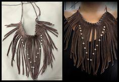 Sautoir franche en cuir suédé - Création Unique : Collier par perle-de-chamane
