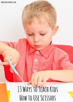 Your kiddo's first attempts with new developmental milestones will just be exploration and exposure. Try these suggestions for introducing scissors. Physical Development, Child Development, Learning Activities, Preschool Activities, Cutting Activities, Preschool Class, Teaching Kids, Kids Learning, Learning Shapes