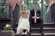 THE perfect wedding photo. Gorgeous soft natural lighting and the color from the door with the brick building makes this so stunning. Photo by Fiona Conrad, NY wedding.