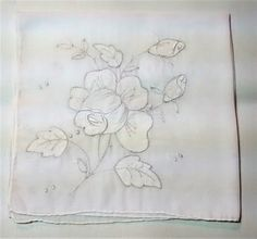 L-102 $3.00 Vintage Handkerchief with White Roses
