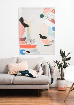large scale artwork by Moglea Interior Decorating Styles, Interior Design Tips, Design Ideas, Decorating Games, Decorating Blogs, Modern Interior, Art Watercolor, Art Plastique, Home Decor Bedroom