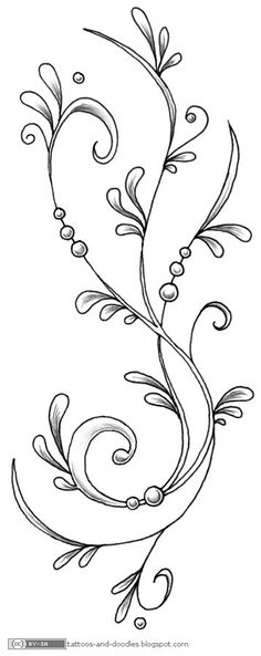 Tattoos and doodles: Swirly tattoo design (again) Looks like a historical embroidery design Embroidery Designs, Hand Embroidery, Flower Embroidery, Machine Embroidery, Doodles Zentangles, Zentangle Patterns, Stencil Patterns, Doodle Drawings, Doodle Art
