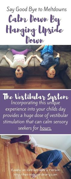 Hanging upside down stimulates our vestibular system, found our inner ear. Planned sensory activities that involve hanging upside down can prevent sensory meltdowns in children with Autism. (back in time activities) Vestibular Activities, Vestibular System, Toddler Activities, Sensory Activities For Autism, Indoor Activities, Cerebral Palsy Activities, Health Activities, Time Activities, Indoor Games