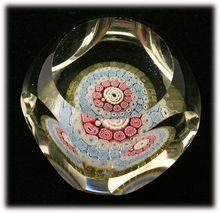 Murano Glass Millefiori Faceted Art Glass Paperweight Square