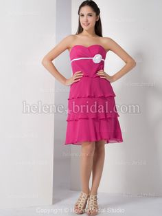 Bridesmaid Dresses Pictures - A-Line Strapless Sweetheart Knee-Length Chiffon Artificial Silk Bridesmaid Dress - Style BD5945