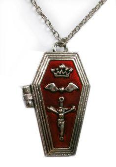 Punk Gothic vampieren doodskist ketting met medaillion