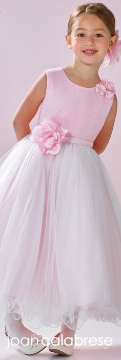 Joan Calabrese for Mon Cheri - Spring 2017 - Style No. 117356 - pink & ivory satin and tulle flower girl dress