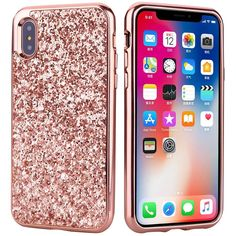 iPhone X Case, BAISRKE Luxury Glitter Sparkle Bling Designs 2in1 Hybrid Case Shining Fashion Style for Apple iPhone X/iPhone 10 [Rose Gold]