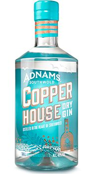 Copper House Dry Gin | Adnams Southwold. 40 % ABV. Distilled. Made using the 'London Dry Gin' method, where the botanicals are added directly to the spirit in the copper pot still. Juniper Berries, Orris Root, Coriander Seed, Cardamom Pod, Sweet Orange Peel and Hibiscus Flower.