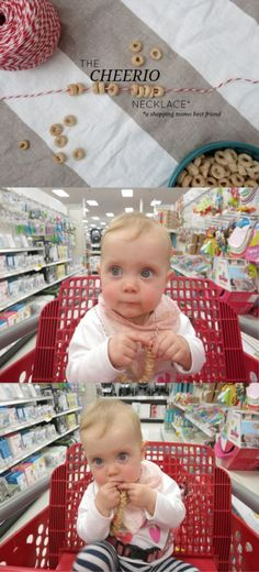 Store hack with baby. Have fun with this cheerio necklace hack. A great way to keep snack off the floor! Toddler Tips and Tricks – Hacks for New and Old Moms on Frugal Coupon Living.