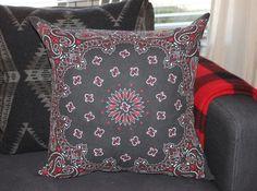 Finished Bandana Pillow in the Living Room Diy Pillows, Throw Pillows, Cushions, Pillow Ideas, Floor Pillows, Steel Wool And Vinegar, Bandana Crafts, Pumpkin Flower, Star Garland