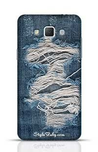 Striped Textured Blue Used Jeans Denim Linen Samsung Galaxy A5 Phone Case