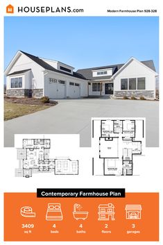 Love the look of contemporary farmhouse plans? Then check out this stylish modern farmhouse. Questions? Call 1-800-913-2350 today. #blog #architecture #modern #bungalow #architect #architecture #buildingdesign #country #craftsman #houseplan #homeplan #house #home #homeblog Modern Farmhouse Plans, Farmhouse Design, Farmhouse Style, Building Department, Modern Bungalow, Building Design, My Dream Home, Craftsman, Architecture Design