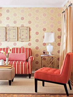 creamy beige and red wallpaper