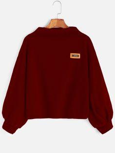 Lantern Sleeve Patch Sweatshirt