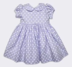 Our Cotton Rachel Dress in Lavender/White Dot. This Peter pan collar dress with tie back and button closure is adorable on baby and toddler girls. 100% Cotton, hits at the knee. Find this style online here: www.babycz.com/Cotton-Rachel-Dress-in-Lavender-White-Dot.html#.UtgfPNKwJqw