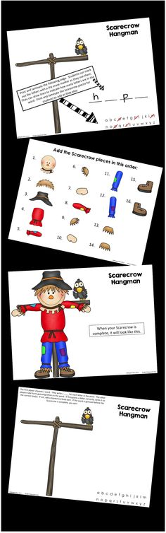 Scarecrow Hangman - Print and laminate the game board and the Scarecrow pieces.  Great for word work, literacy centers, inside recess, or as a party game! $